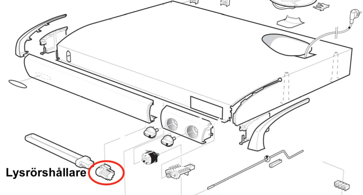 Lysrörshållare 2 pin Franke, Futurum, Cylinda